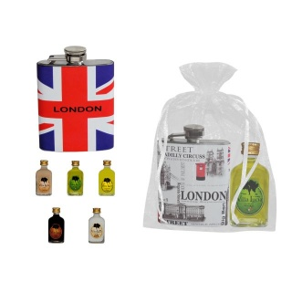 petaca de hombre londres + botella licor mini (8276) + bolsa tull  (8944)