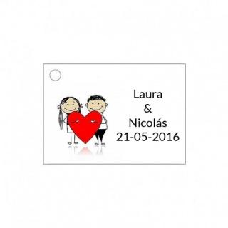 Tarjetita de boda novios y corazón