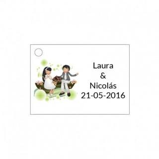 Tarjetita de boda novios con bombones