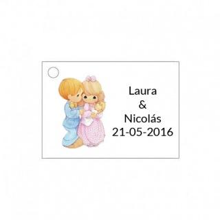 Tarjetita de boda novios con bebe