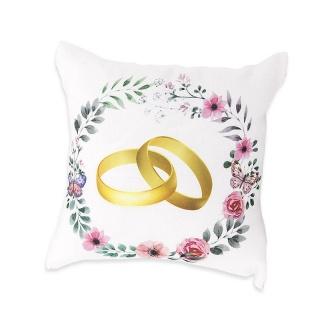 Cojín con alianzas y flores para regalo de boda