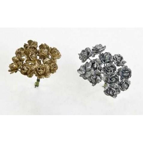 Bolsa 12 pomos con 12 flores pequeña oro y plateado = 144 unidades