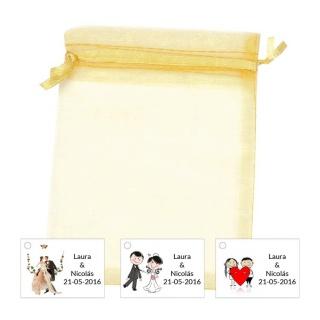 Bolsa de organza con tarjeta o pegatina para decorar detalles