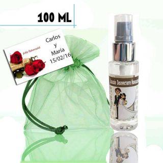 Gel hidroalcohólico 100ml con pegatina de boda, bolsa y tarjeta