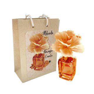Ambientador Mikado en frasca, olor a naranja y canela, incluye bolsa