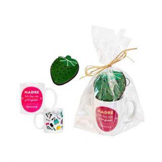 Pack para regalar a las madres, con taza y monedero de fresa verde