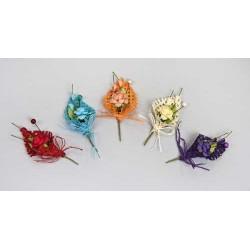 Flor con lazo y capullo verde rosa/beig/naranja/azul/rojo