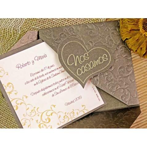 invitacin de boda original y barata color bronce elegante - Invitaciones De Boda Elegantes