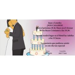 Invitacion de boda novios bailando y tarta