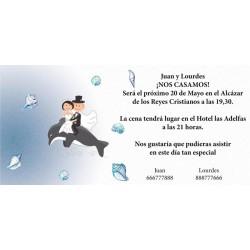 Invitacion de boda novios en delfín