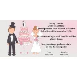 Invitacion de boda novios con tarta