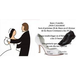 Invitacion de boda novios y zapatos