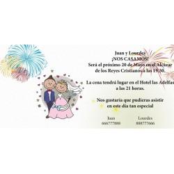 Invitacion de boda fuegos artificiales
