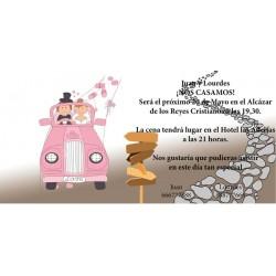 Invitacion de boda coche de novios