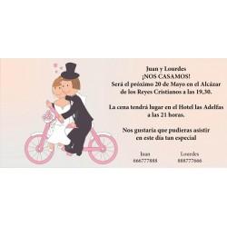 Invitación de boda novios en bici