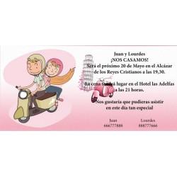 Invitación original de boda novios en moto