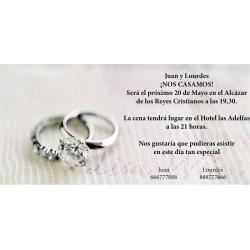 Invitación original de boda con alianzas