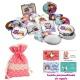 Espejos coloridos con búhos, de diferentes formas, con bolsa de lunares de color rosa, y tarjeta personalizada