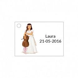 Tarjeta para ceremonia de niña con violín