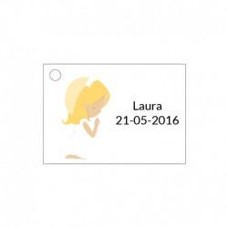 Tarjetita para detalles de ceremonia de niña