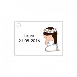 Tarjetita para detalles de ceremonia para niña