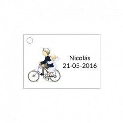 Tarjetita para detalles de ceremonia niño en bici