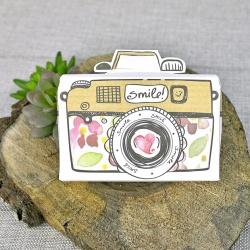 Invitacion de boda en caja de camara de fotos