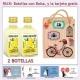 2 Botellitas de Crema de Limón con bolsa vintage con bicicleta y tarjeta